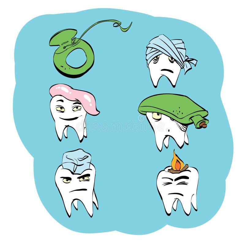 Stomatologiczny set zębów zdrowie i oralna higiena ilustracji