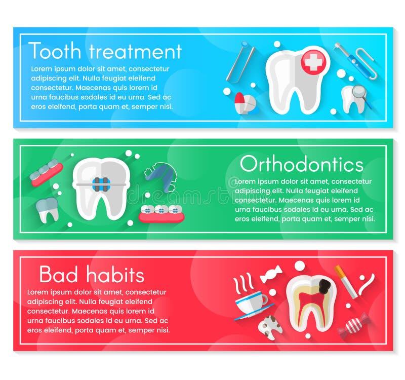 Stomatologiczny sztandaru tła pojęcie Z Płaskimi ikonami Wektorowa ilustracja, dentystyka, Orthodontics Zdrowy czyści ilustracji