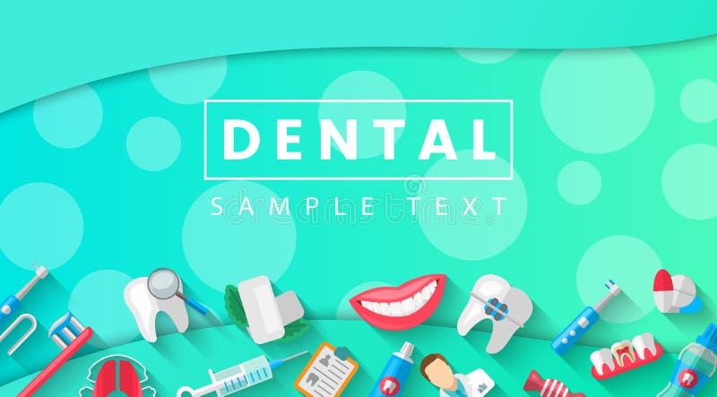 Stomatologiczny sztandaru tła pojęcie Z Płaskimi ikonami Wektorowa ilustracja, dentystyka, Orthodontics Zdrowy czyści ilustracja wektor