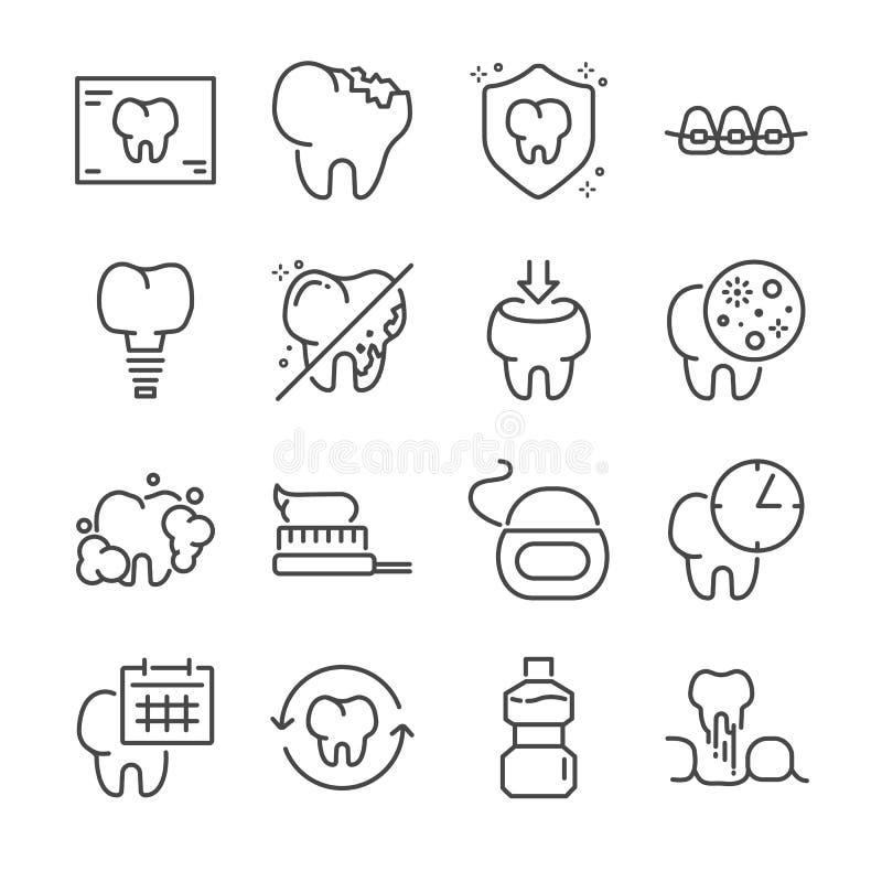 Stomatologiczny wektor linii ikony set Zawrzeć ikony jako ząb, Stomatologiczny floss, mouthwash i więcej, ilustracja wektor