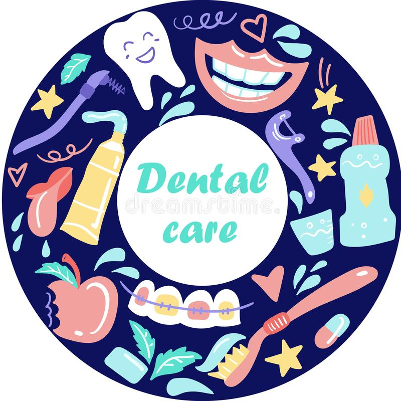 Stomatologie Fond de soins dentaires Éléments tirés par la main griffonnage illustration libre de droits