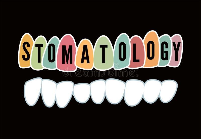 Stomatologie Rétro affiche dentaire typographique Illustration de vecteur illustration libre de droits