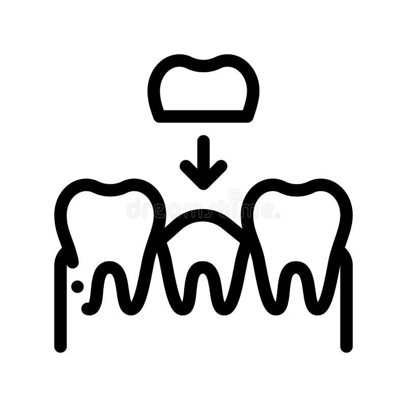 Stomatologie-Zahn-Kronen-Vektor-dünne Linie Zeichen-Ikone vektor abbildung