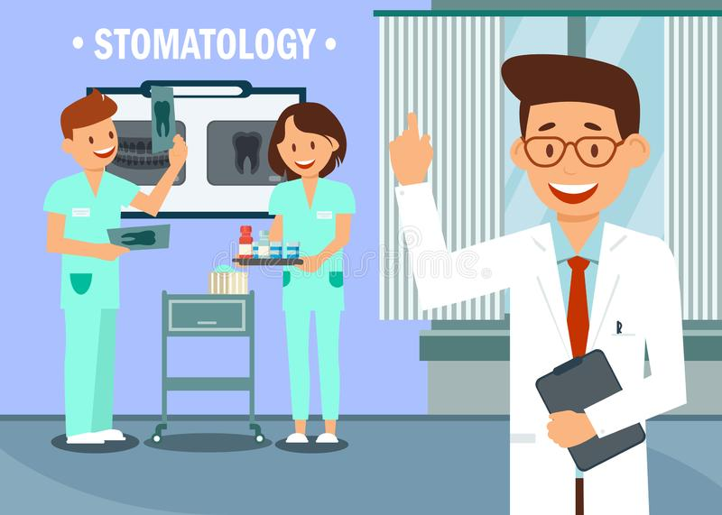 Stomatology Clinic Staff Flat Vector Illustration. Happy Dentist and Nurses Cartoon Characters. Dental Office, Radiology Room, X ray Photographs Inspection stock illustration