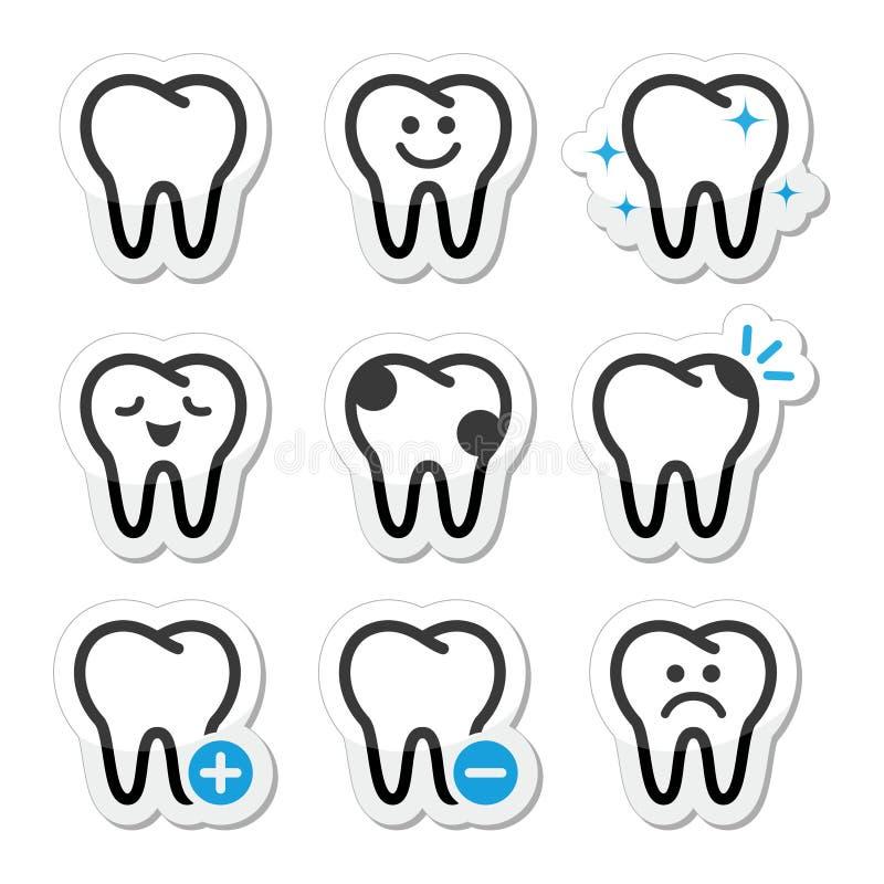Dente, ícones dos dentes ajustados ilustração do vetor