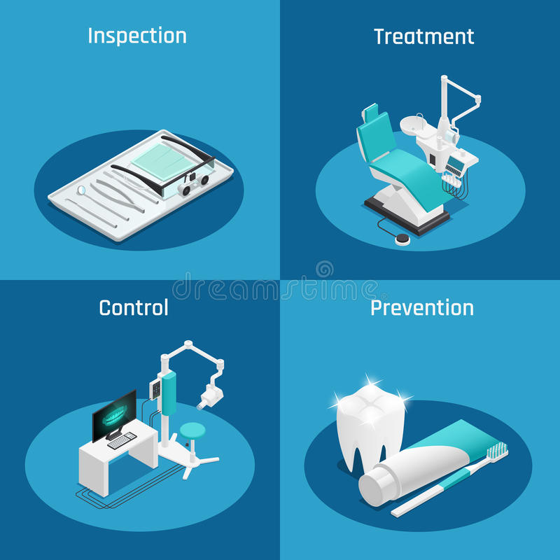 Stomatology Dentistry Isometric Icon Set royalty free illustration