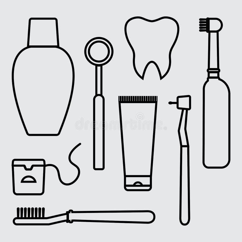 Stomatology Oralna opieka, higiena, dentystyka i z?bu czy?ci?, wektor royalty ilustracja