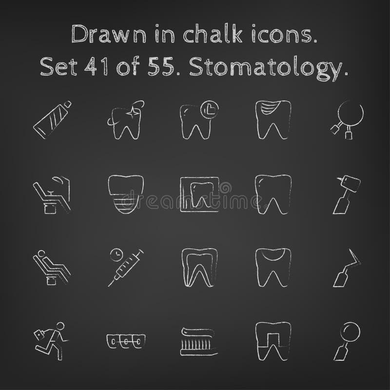 Stomatologysymbolsuppsättning som dras i krita vektor illustrationer