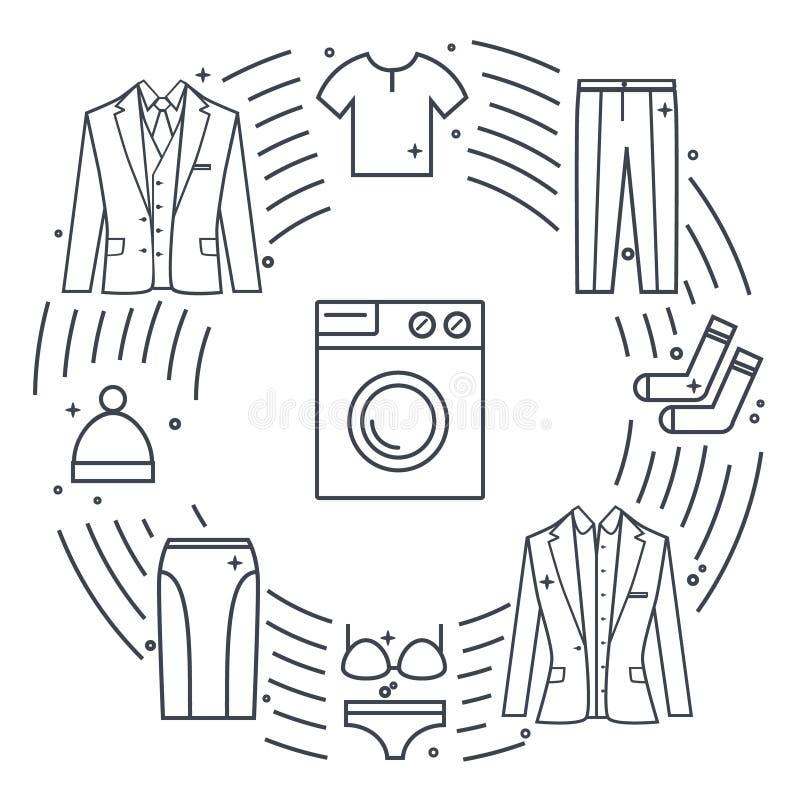 Stomerij en wasserij vectorvoorwerpen Uniek vectorconcept met verschillende klerenelementen: wasmachine, jasje, rok royalty-vrije illustratie