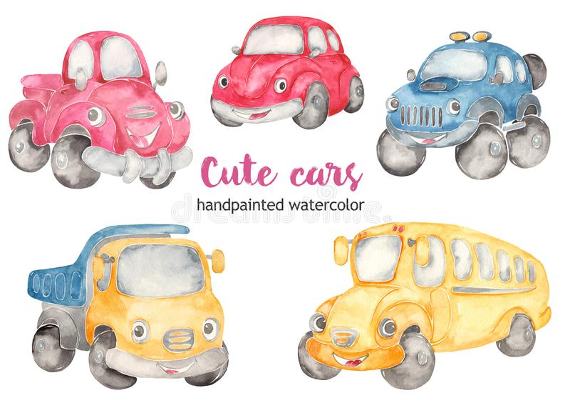 Stomme auto's, klikstuk. Cartoon illustraties autokever, weg SUV, schoolbus, pickup, vrachtwagen royalty-vrije illustratie