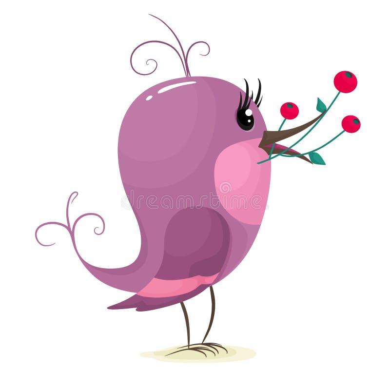 Stomme vogel met een brak bessen in zijn bek Vectorillustratie in platte tekenstijl Isoleren op een witte achtergrond vector illustratie
