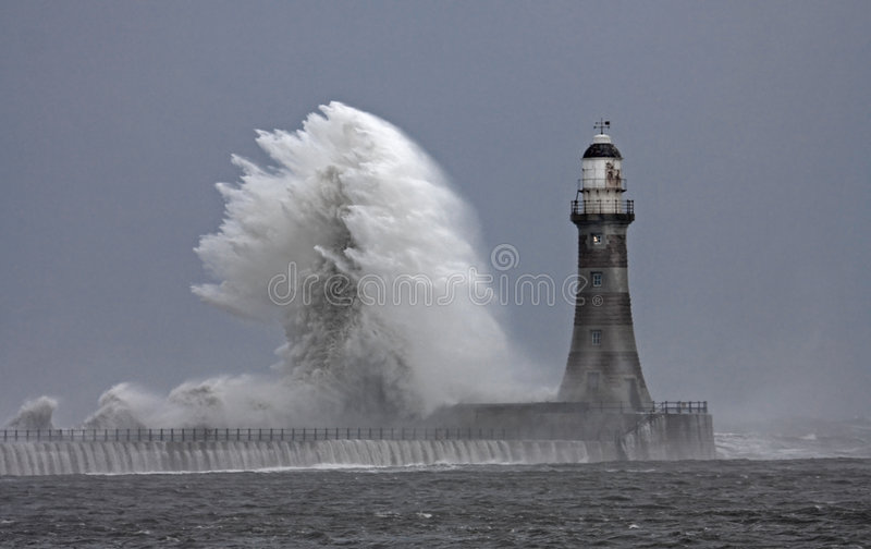 Stomy weather at Roker Lighthouse royalty free stock photography