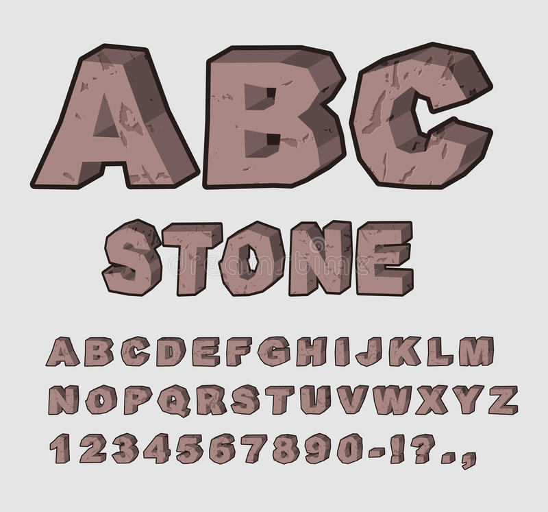 Stone ABC. Rock font. Set of letters from brown calculus. With cracks and chipped. alphabet crag vector illustration