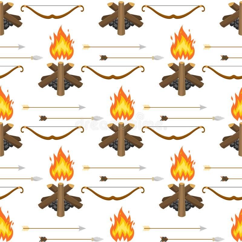 Stone age vector aboriginal primeval historic hunting primitive people weapon seamless pattern background illustration. stock illustration