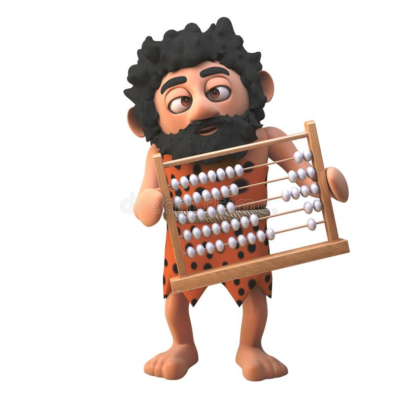Stone age caveman character in 3d holding an abacus, 3d illustration. Render vector illustration