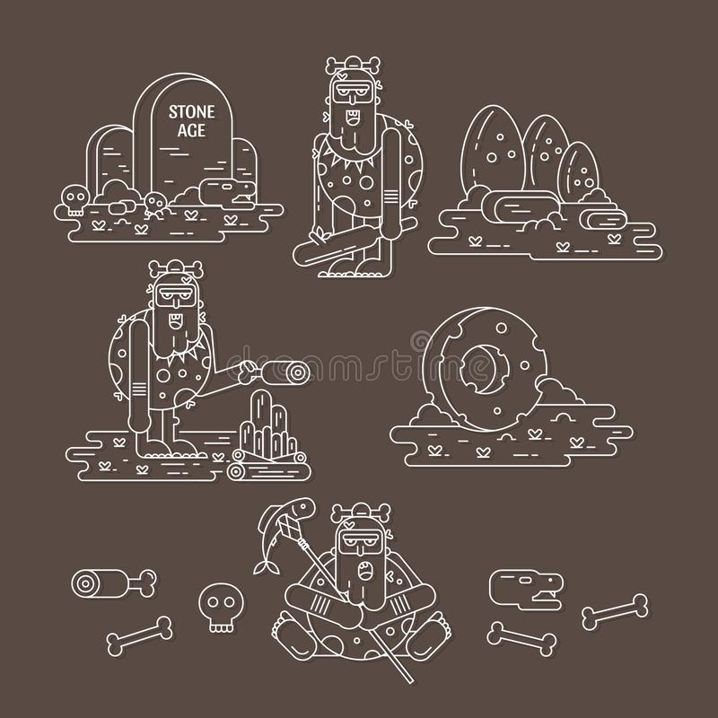 Stone age flat line icons set vector illustration. Stone age flat line icons set with caveman different pose, tools, food, fire, dinosaur eggs, skulls and bones stock illustration