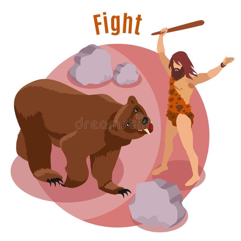 Stone Age jaktbegrepp stock illustrationer