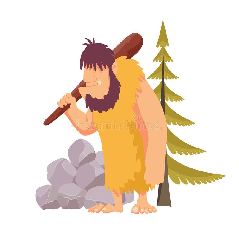 Stone age primitive man in animal hide pelt with big wooden club. Flat style vector illustration isolated on white. Background stock illustration