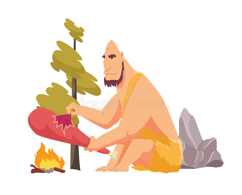 Stone age primitive man in animal hide pelt cooking meat food on fire. Flat style vector illustration isolated on white. Background vector illustration