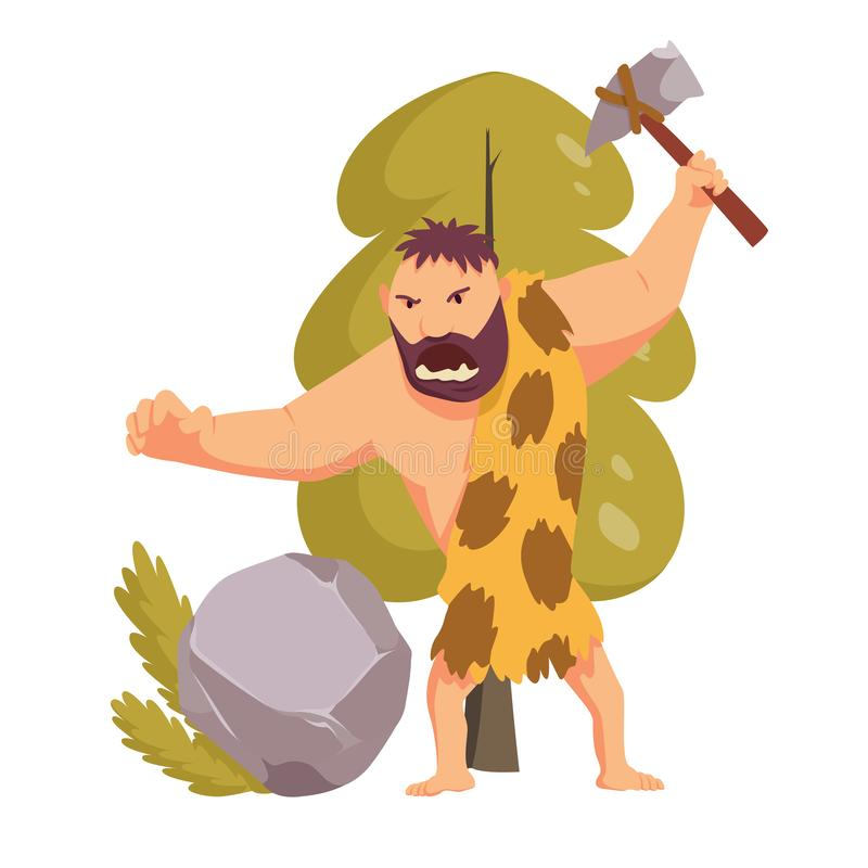 Stone age primitive man with stone hammer. Flat style vector illustration isolated on white background. Angry Caveman. Cartoon Character stock illustration