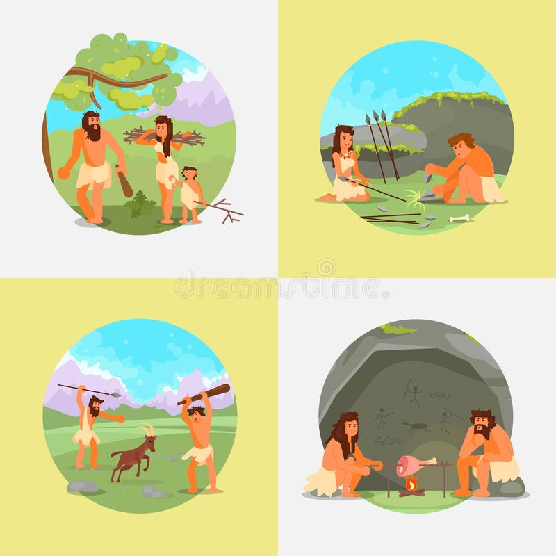 Cavemen stone age people vector flat illustration. Stone age set. Vector flat illustration of cavemen primitive prehistoric people hunting, cooking meat on open vector illustration