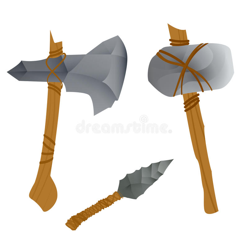 Stone age weapons royalty free illustration