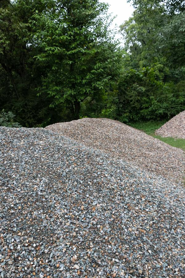 Stone aggregate, Stack of Gray Gravel stock photos