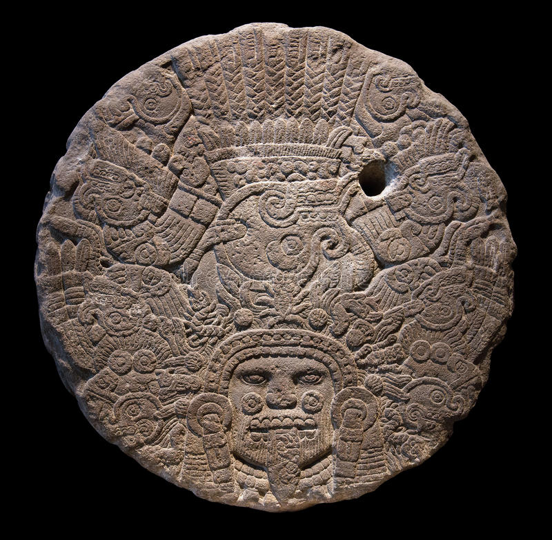 Stone altar disk to Tlaltecuhtli. Lord of the Earth. Tlaltecuhtli is a pre-Columbian Mesoamerican deity figure, identified from sculpture and iconography stock images