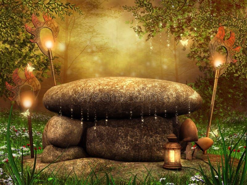 Download Stone altar with lanterns stock illustration. Illustration of green - 27313112