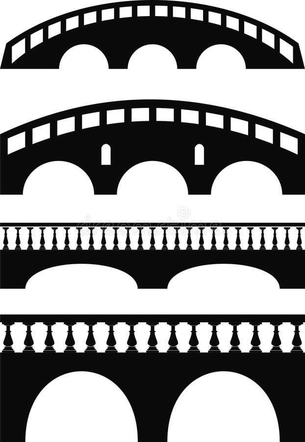 Stone ancient bridge, balustrade royalty free illustration