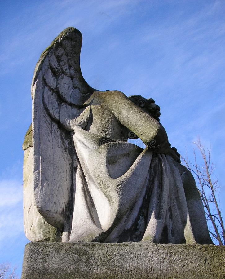Stone Angel in a graveyard stock images