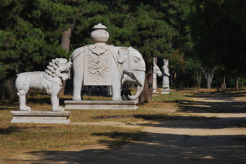 Stone animals and officials on the spirit path