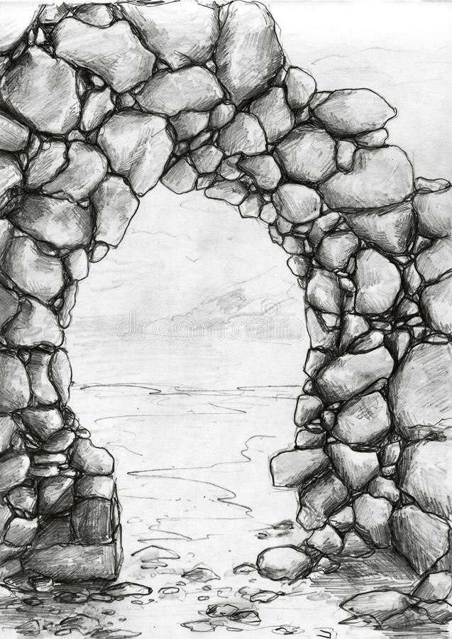 Stone arc sketch. Stone arc on the sea shore. Pencil drawing, sketch vector illustration