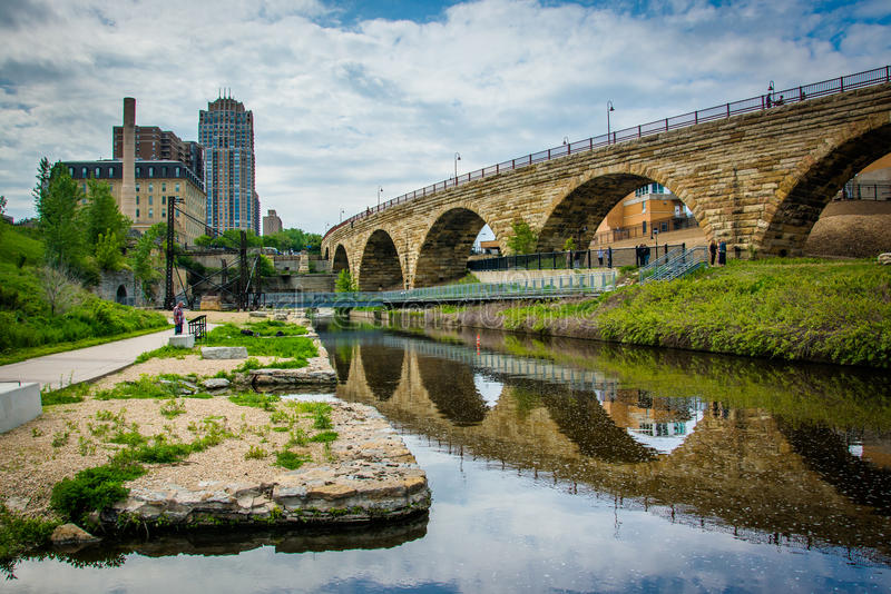The Stone Arch Bridge, in downtown Minneapolis, Minnesota. royalty free stock photo