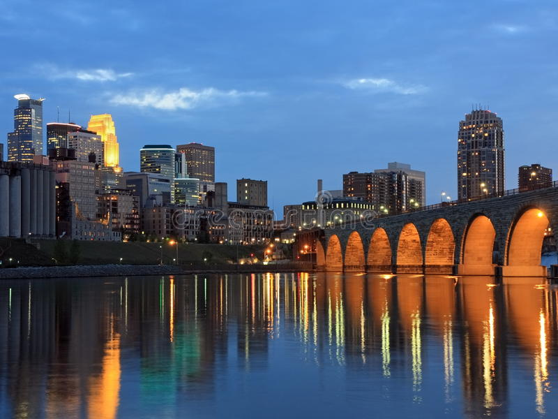 Stone Arch bridge and Mississippi river royalty free stock image