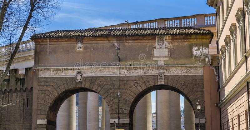 Stone Arch Saint Peter& x27;s Square Vatican Rome Italy royalty free stock photography