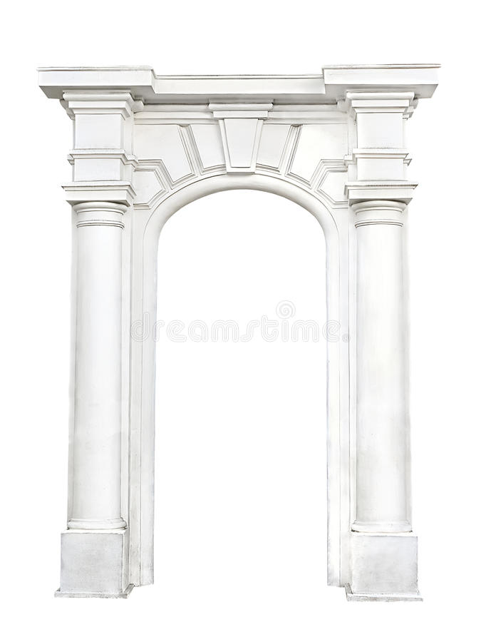 Stone arch isolated on white background royalty free stock photo