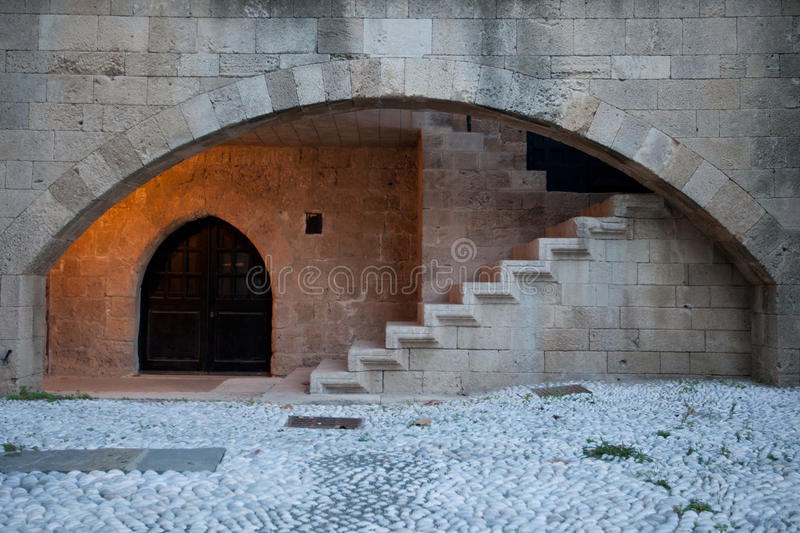Stone arch and stairs royalty free stock photo