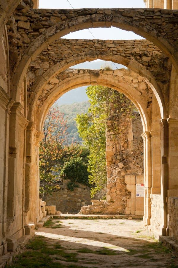 Stone arcs in abandoned monastery de Rioseco. royalty free stock photos
