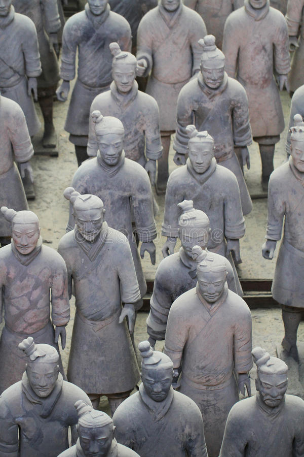 Stone army soilders statue, Terracotta Army in Xian, China stock photos
