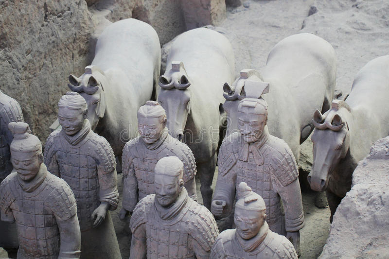 Stone army soliders with horse statue, Terracotta Army in Xian, China stock photos
