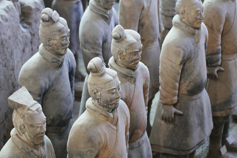 Stone army soliders with horse statue, Terracotta Army in Xian, China royalty free stock images