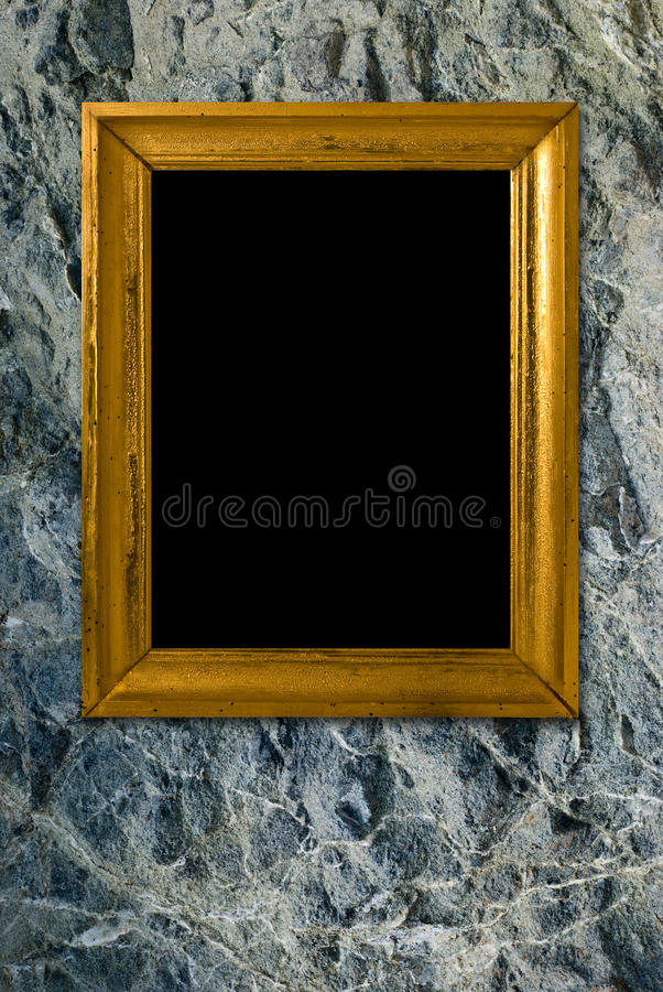 Download Stone Background With Vintage Gold Frame Stock Photo - Image: 11486140