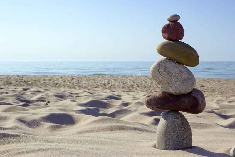 Stone balance. Pebble stack signifying harmony and balance by the Sea
