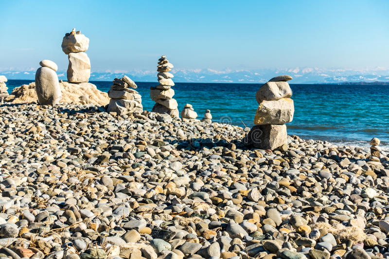 Stone balance. Stack of stones balancing at the bodensee germany stock photo