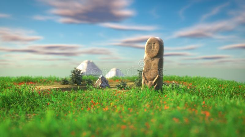 Stone 'BALBAL' 3D Render vector illustratie