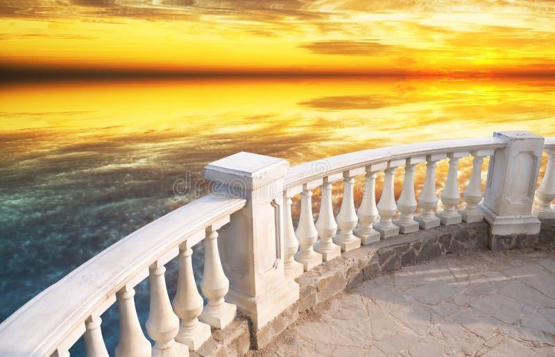 Stone balcony stock images