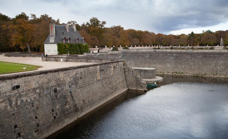 Stone banks of Loire river in Chenonceau. France, Loire Valley royalty free stock photography