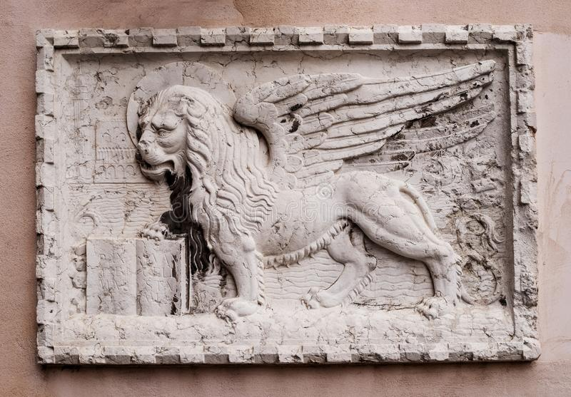 Stone Bas Relief Of The Venetian Lion On One Of The Houses Of Venice