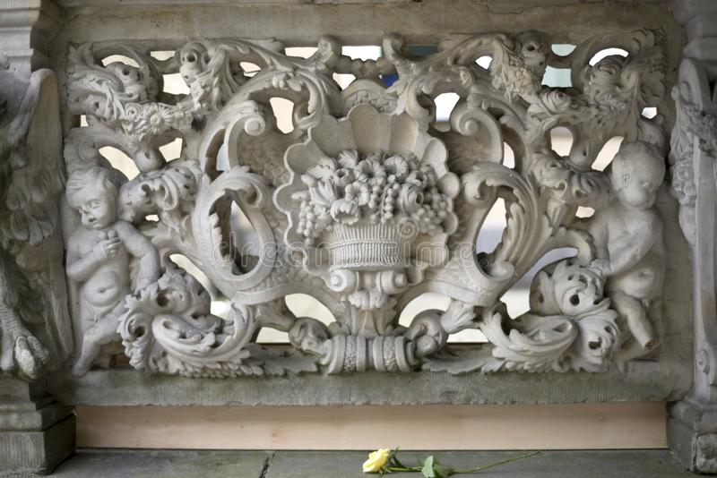 Stone bas-reliefs of Gdansk. Gdansk is an old Polish and German cultural center with incredibly beautiful architecture. Ancient stone carvings of bas-relief on stock photos